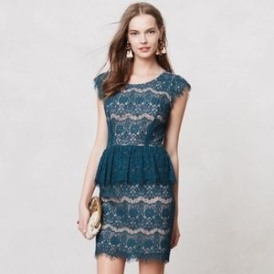 EUC Anthropologie Maeve Elsa Lace Peplum Dress: L